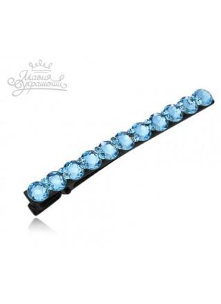 Заколка зажим для волос с голубыми Swarovski