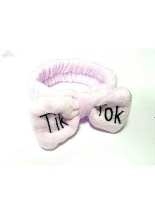 Повязка на голову бандана для волос с надписью Тик ток лиловая