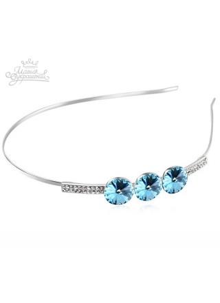 Ободок для волос с голубыми кристаллами Сваровски